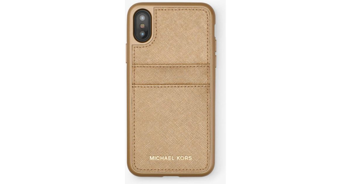 ca1c179b3806 Michael Kors Metallic Saffiano Leather Phone Case For Iphone X in Metallic  - Lyst