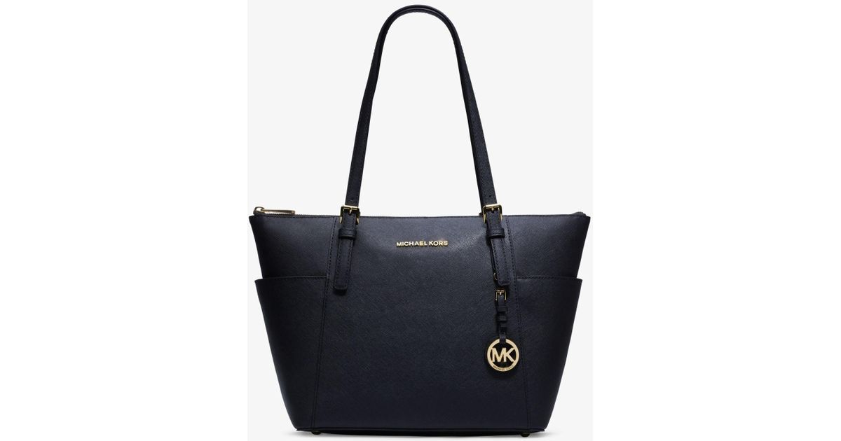 f9804a75895e34 Michael Kors Jet Set Large Saffiano Leather Top-zip Tote Bag in Blue - Lyst