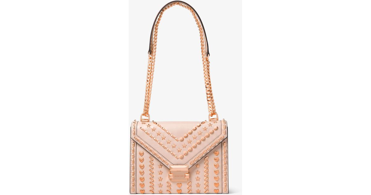 Lyst - Michael Kors Whitney Large Studded Leather Shoulder Bag in Pink 2254f995c05b2
