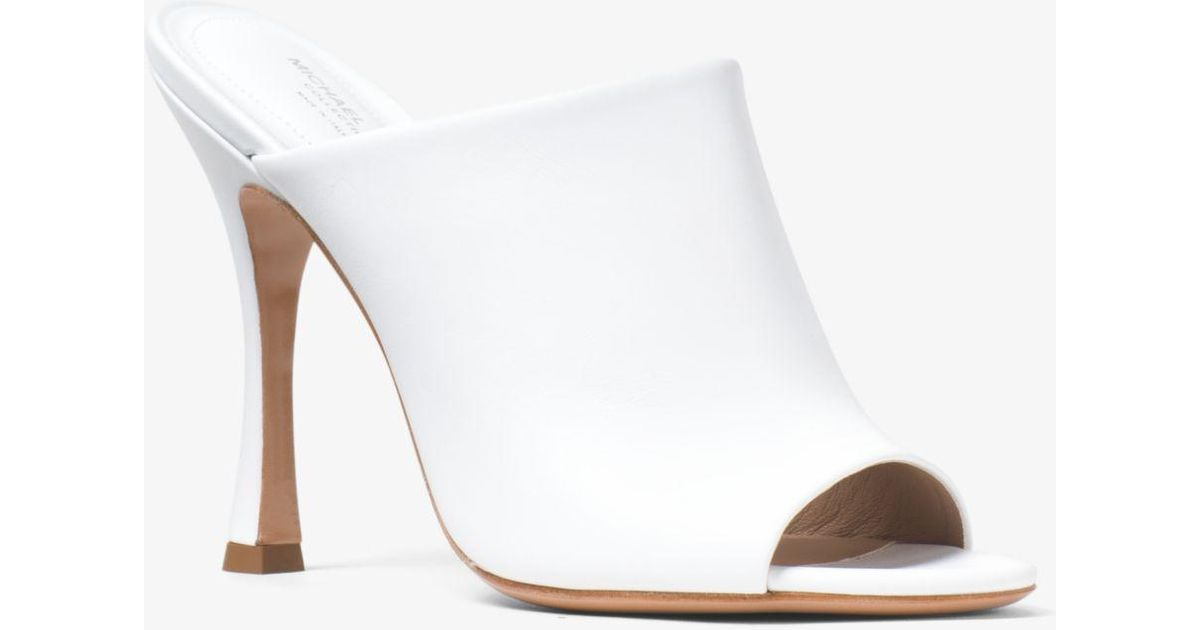 02bbc03286d1a Lyst - Michael Kors Tina Calf Leather Mule in White