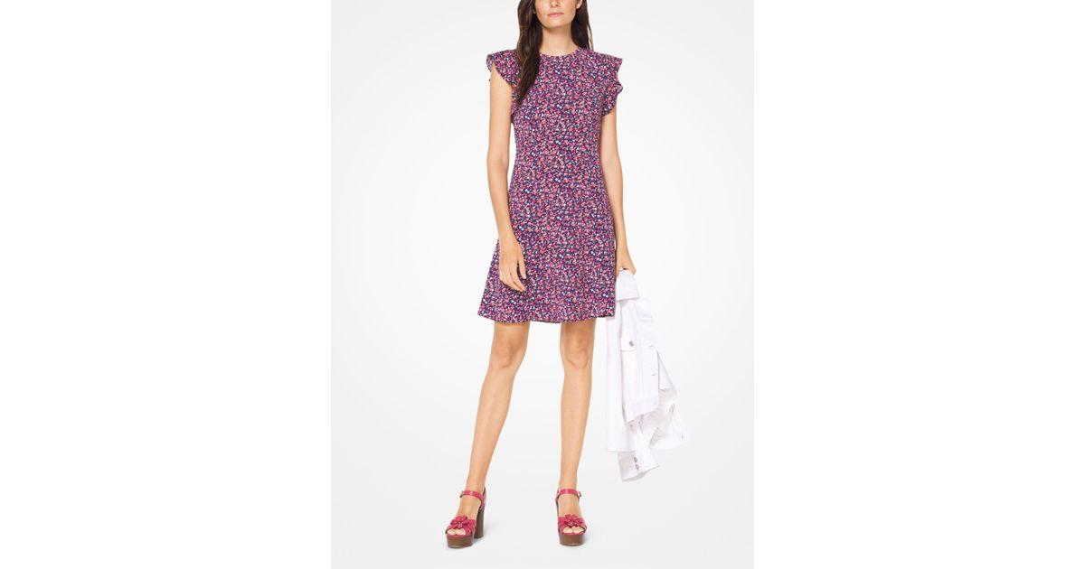 04eaa4c1fb7 Michael Kors Floral Crepe Flounce-sleeve Dress - Lyst