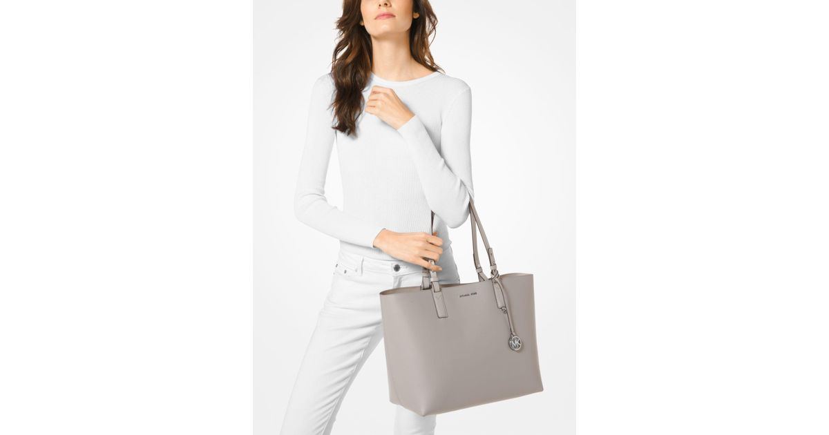 46230e30cdc261 Michael Kors Cameron Large Leather Reversible Tote in Gray - Lyst