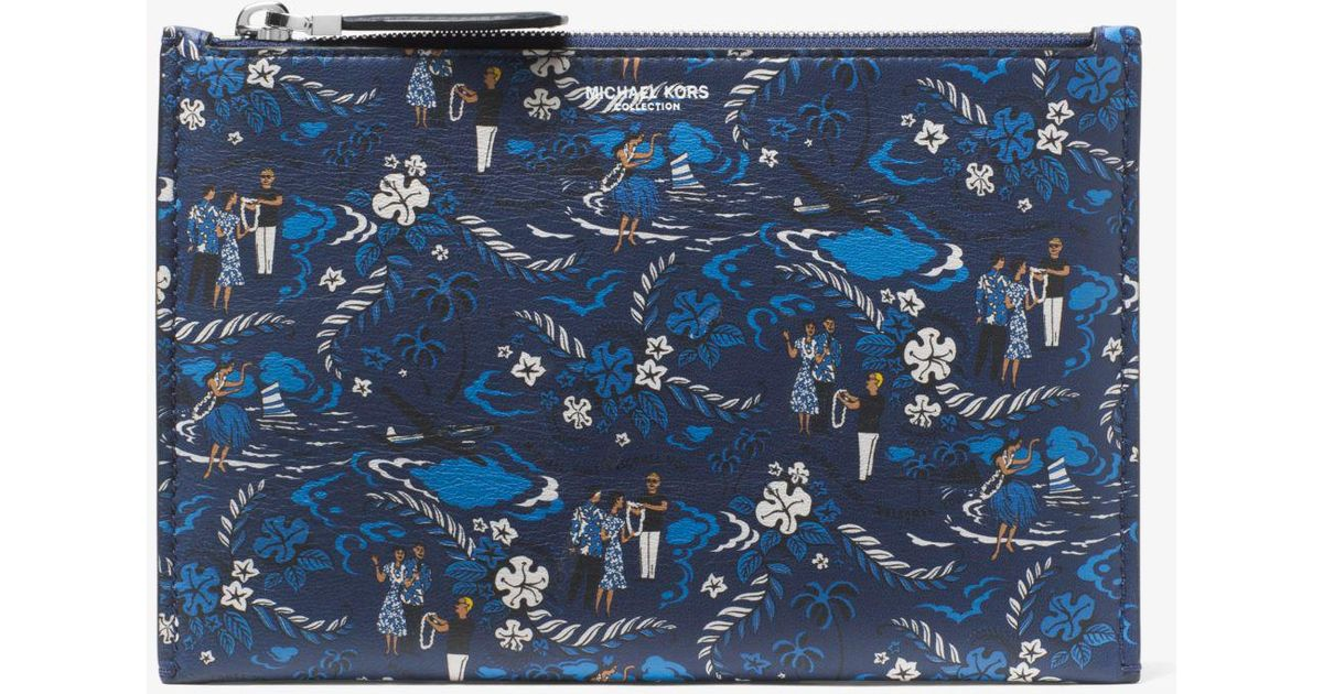 d20e6619e29f Michael Kors Bancroft Tropical Welcome Print Leather Pouch in Blue - Lyst