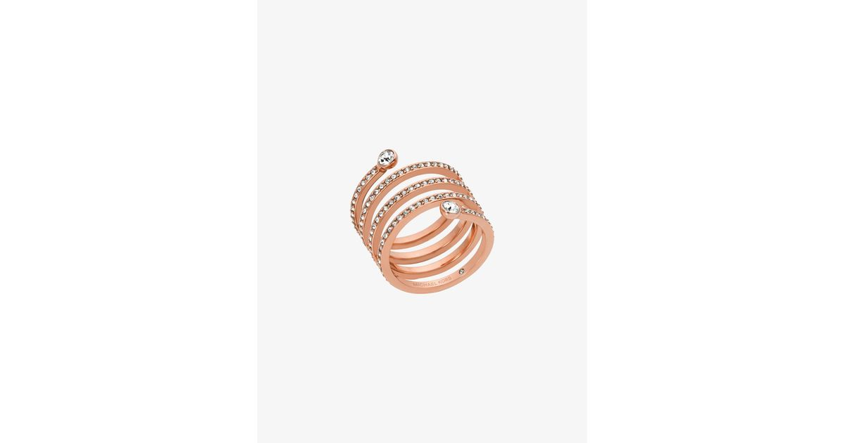5664a6be38347 Lyst - Michael Kors Pavé Rose Gold-tone Coil Ring in Pink