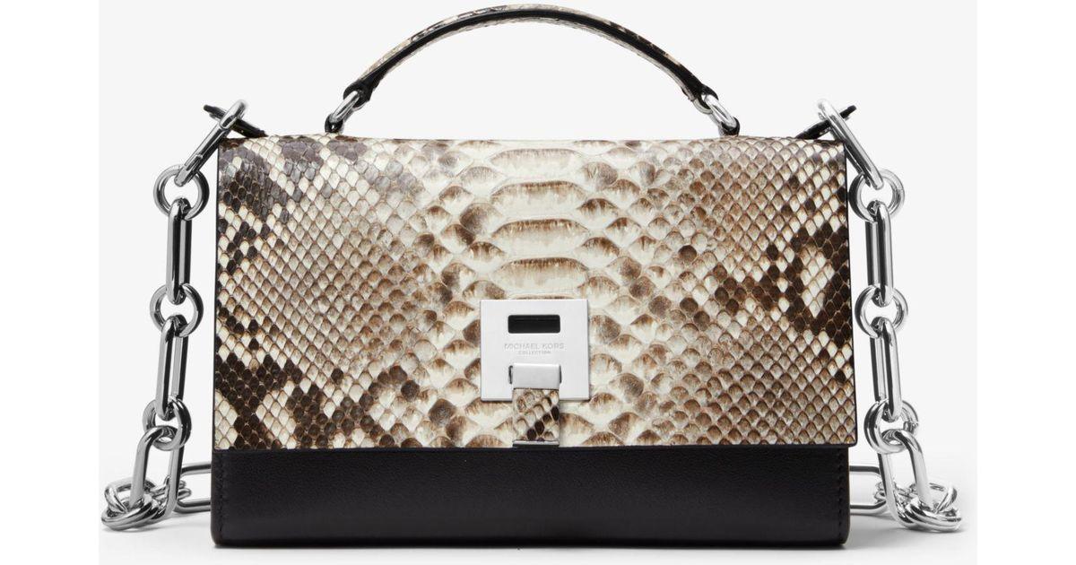 1b8dde3704fab Lyst - Michael Kors Bancroft Python And Calf Leather Shoulder Bag in Black
