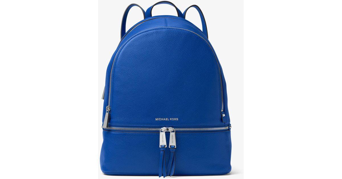 2d226dddbabb Michael Kors Rhea Large Leather Backpack in Blue - Lyst