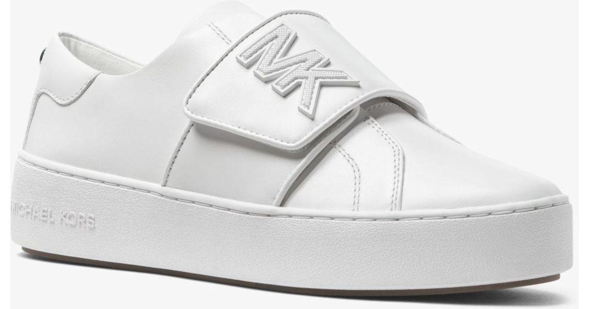 e9213624fb6d Michael Kors Kirk Leather Sneaker in White - Lyst