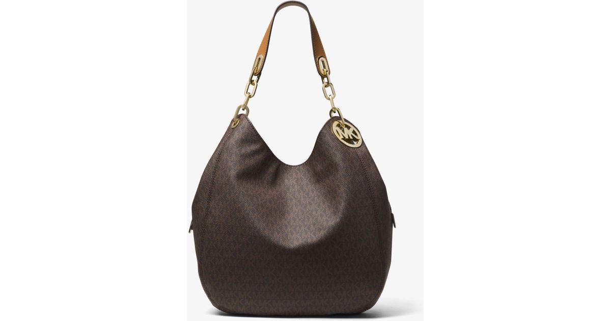 1fd6e18fe472 Lyst - Michael Kors Fulton Large Logo Shoulder Bag in Brown