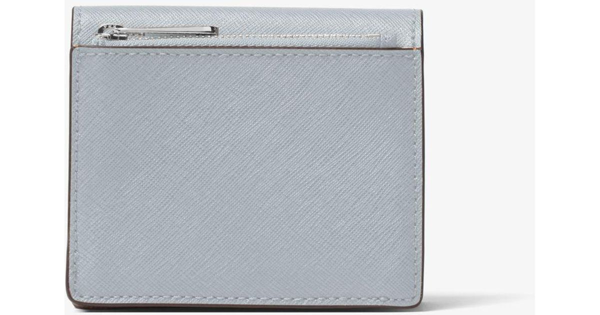 7ce0e69627de Lyst - Michael Kors Jet Set Travel Saffiano Leather Card Holder in Blue