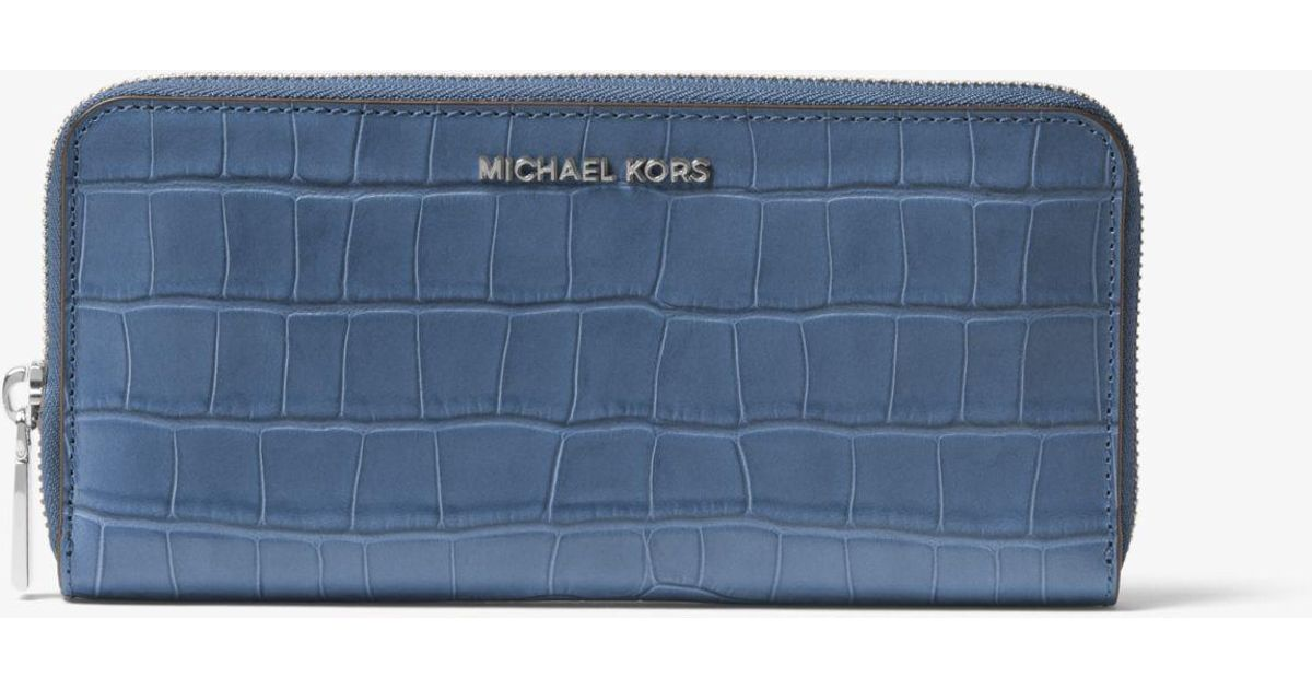 9c5b7aa9469a Lyst - Michael Kors Crocodile-embossed-leather Continental Wallet in Blue