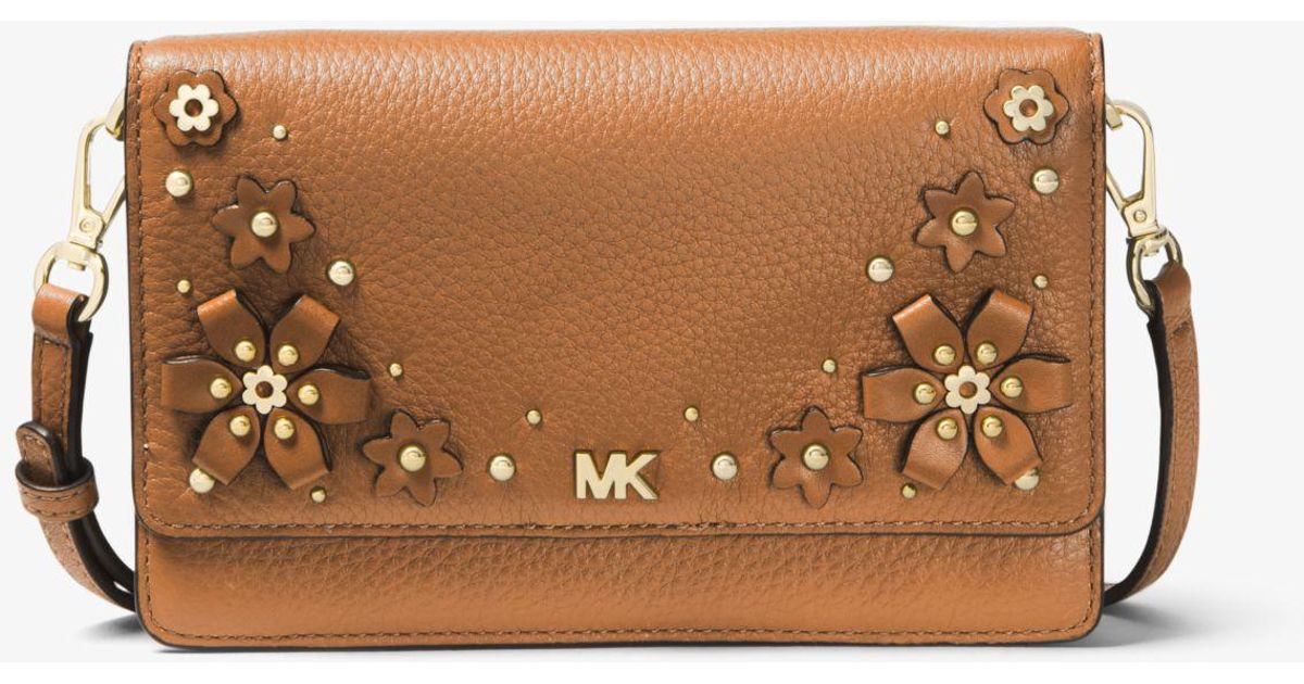 78d613f91870 Lyst - Michael Kors Floral Embellished Pebbled Leather Convertible Crossbody  Bag in Brown