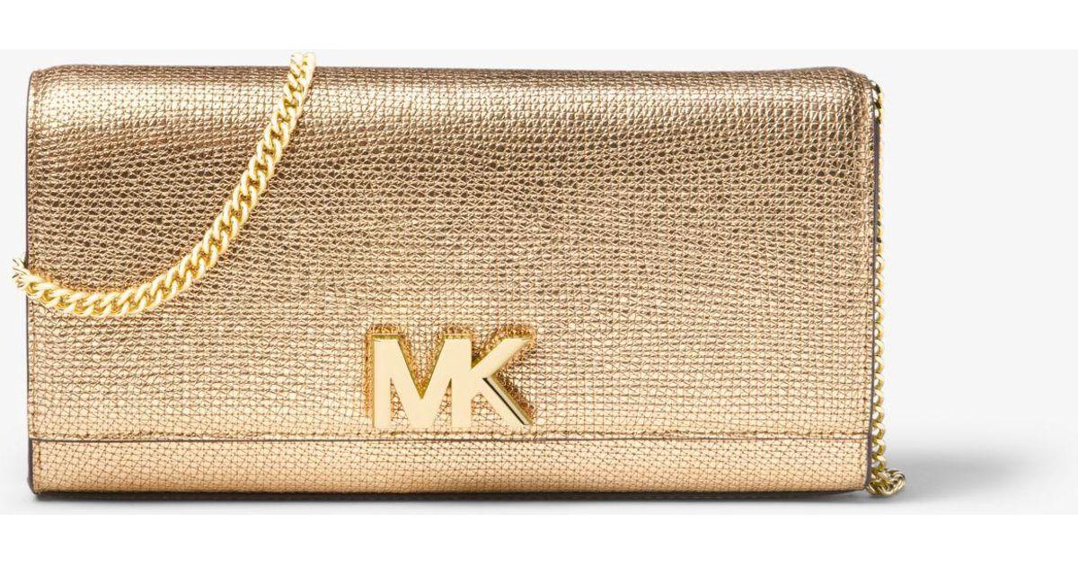 98eec4259343 Michael Kors Mott Metallic Leather Chain Wallet in Metallic - Lyst