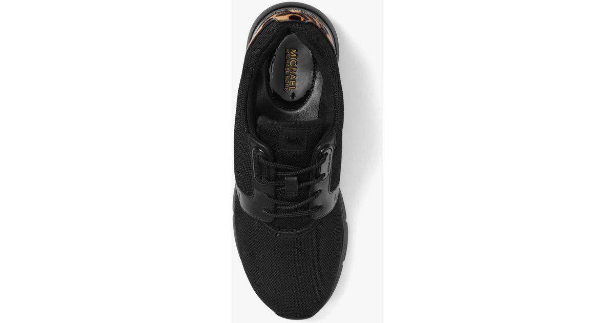 762b84f7849c Lyst - Michael Kors Amanda Leopard Calf Hair And Mesh Sneaker in Black