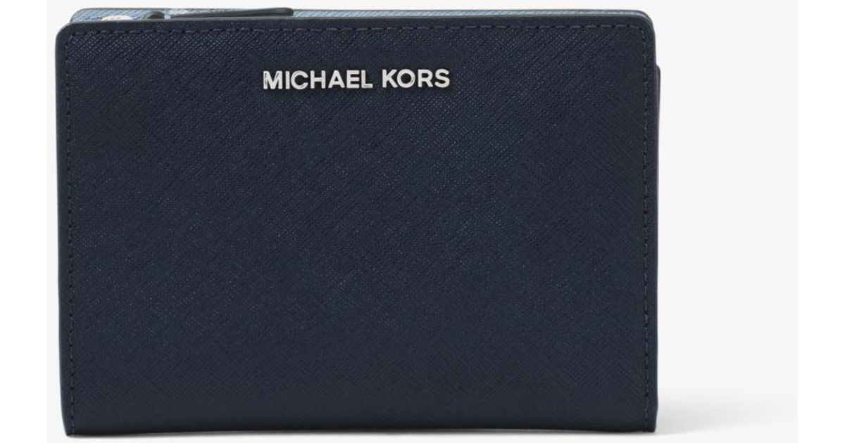 3a25cf78bc19c Lyst - Michael Kors Medium Saffiano Leather Slim Wallet in Blue