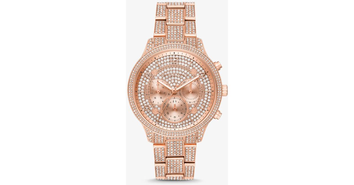 54f2d221cf7b Lyst - Michael Kors Runway Pavé Rose Gold-tone Watch in Metallic