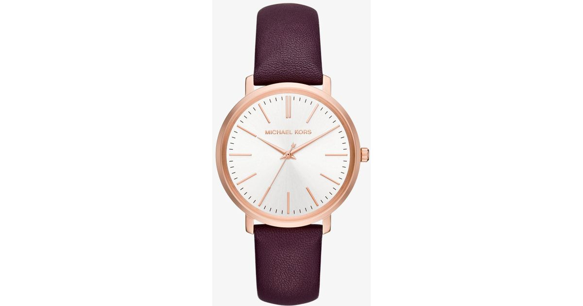 0a9ff95dcb5f Lyst - Michael Kors Jaryn Rose Gold-tone And Leather Watch in Pink