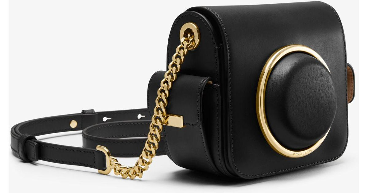 bf84493252f7 Lyst - Michael Kors Scout Medium Leather Camera Bag in Black