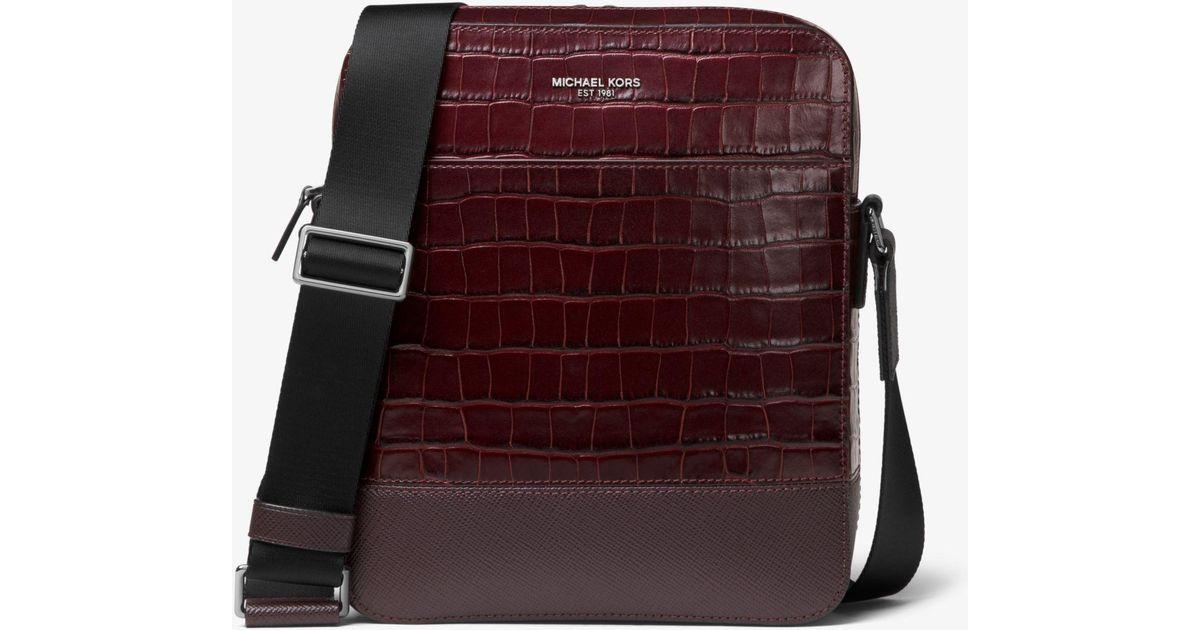 6fc6a9326516 Lyst - Michael Kors Harrison Crocodile-embossed Leather Flight Bag for Men