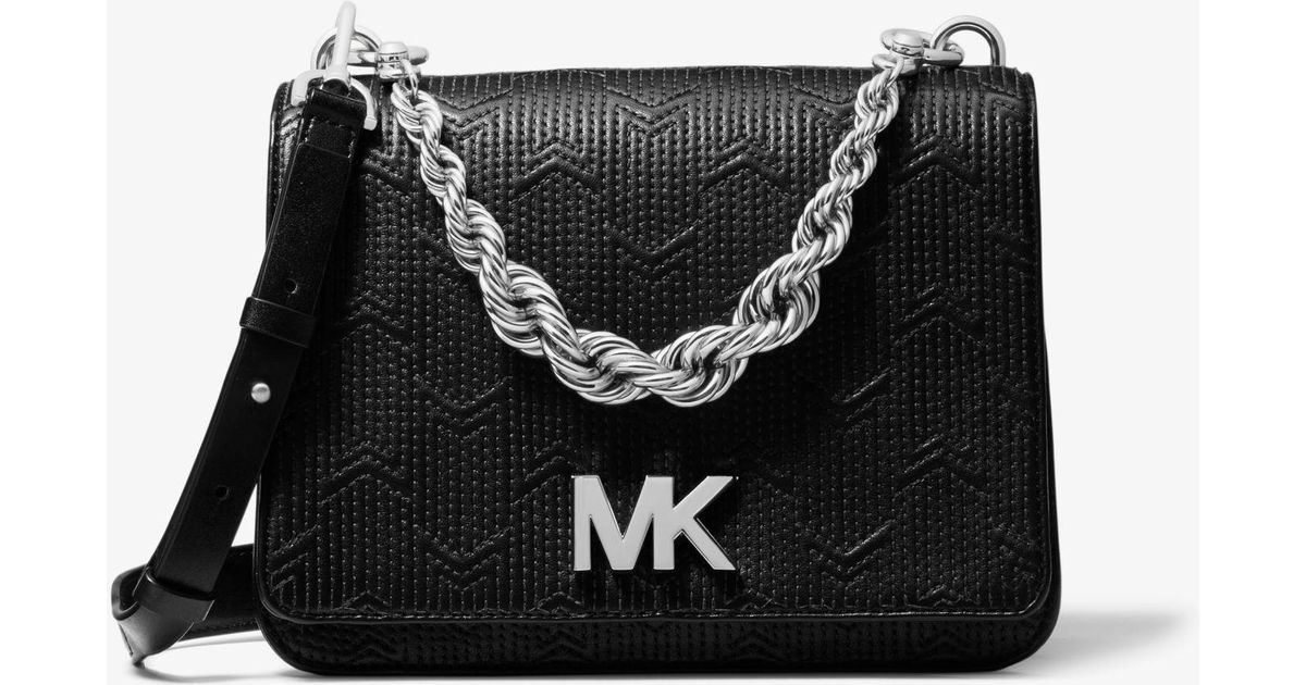 8ec1090842a058 Michael Kors Mott Large Deco Quilted Leather Crossbody in Black - Lyst