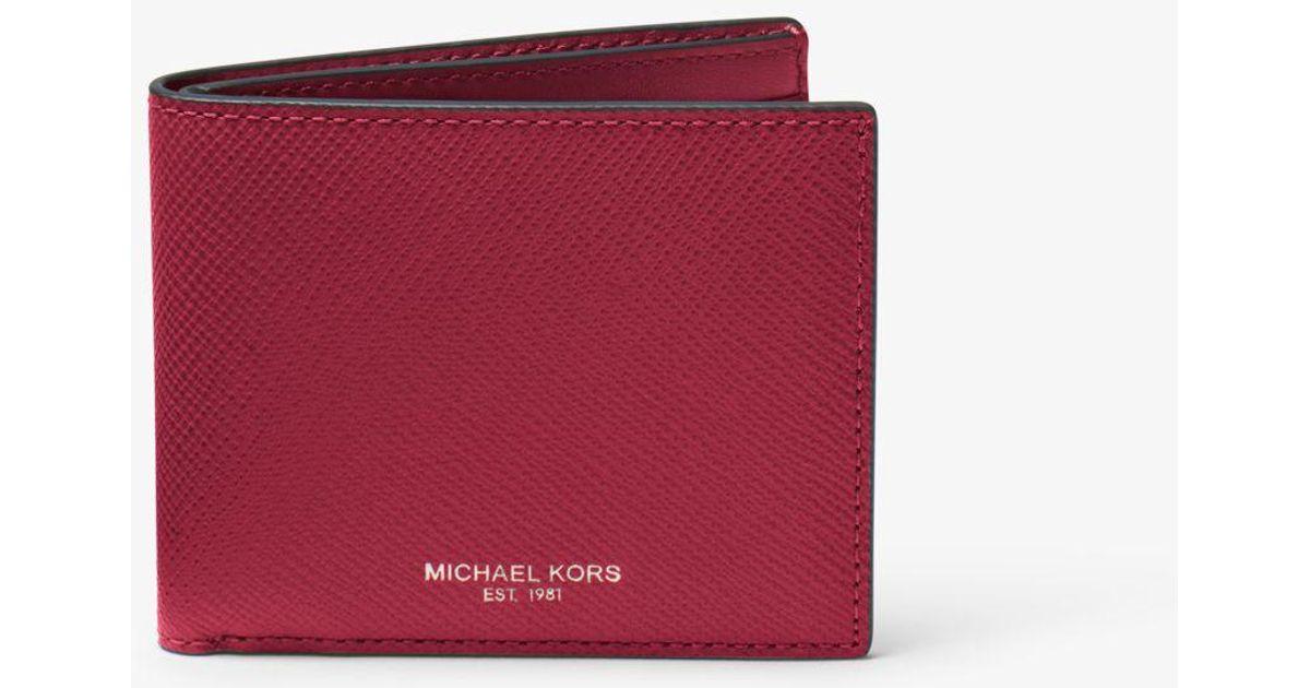 107e54980f99 Lyst - Michael Kors Harrison Slim Leather Billfold Wallet in Purple for Men