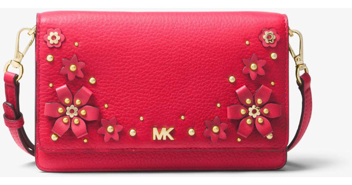 e55175ede Michael Kors Floral Embellished Pebbled Leather Convertible Crossbody Bag  in Pink - Lyst