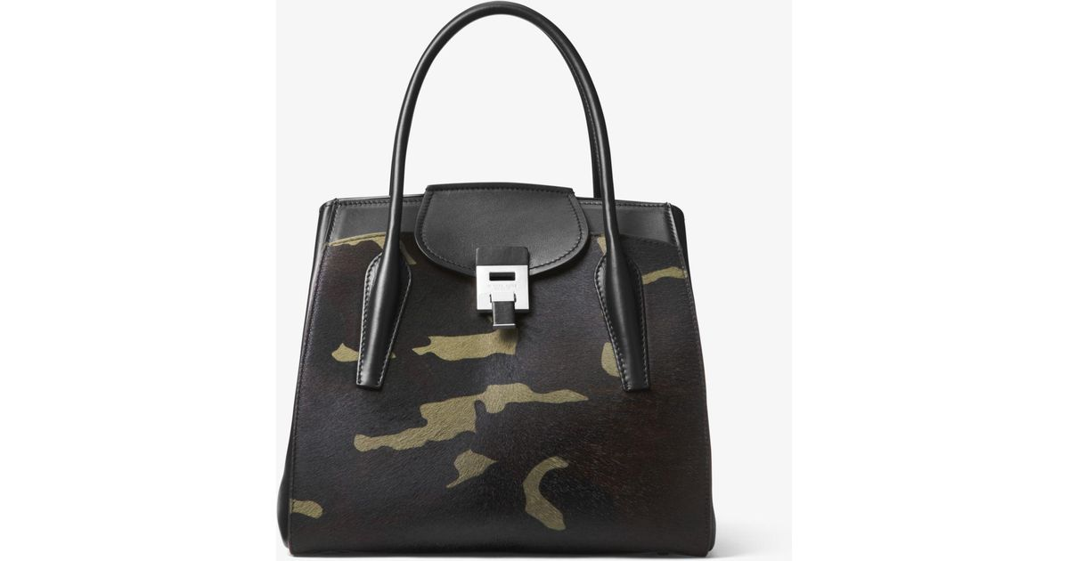 20c15af80735f Lyst - Michael Kors Bancroft Large Camouflage Calf Hair Satchel in Green