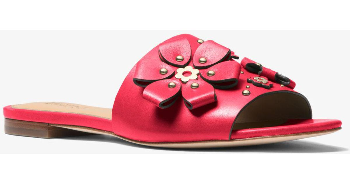 0fb28f00418 Michael Kors Tara Floral Embellished Leather Slide in Pink - Lyst