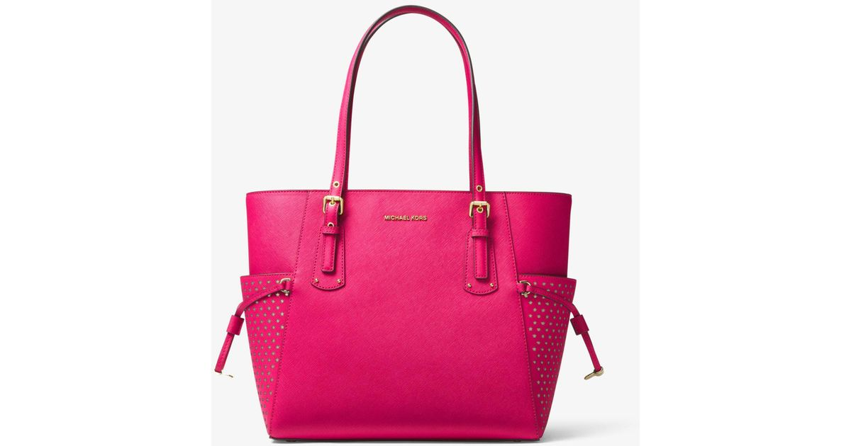 061553d241b928 Michael Kors Voyager Small Saffiano Leather Tote Bag in Pink - Lyst