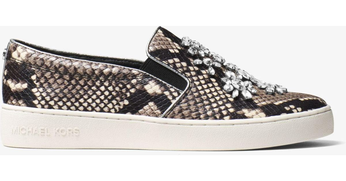 ef871bb6a0e6 Lyst - Michael Kors Keaton Embellished Embossed-leather Slip-on Sneaker in  Natural