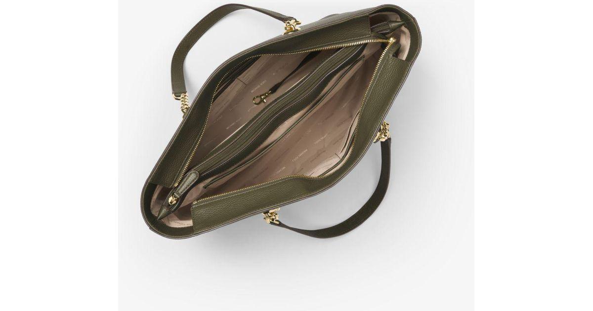 3b3afefa984c Michael Kors Mercer Chain-link Leather Tote Bag in Green - Lyst
