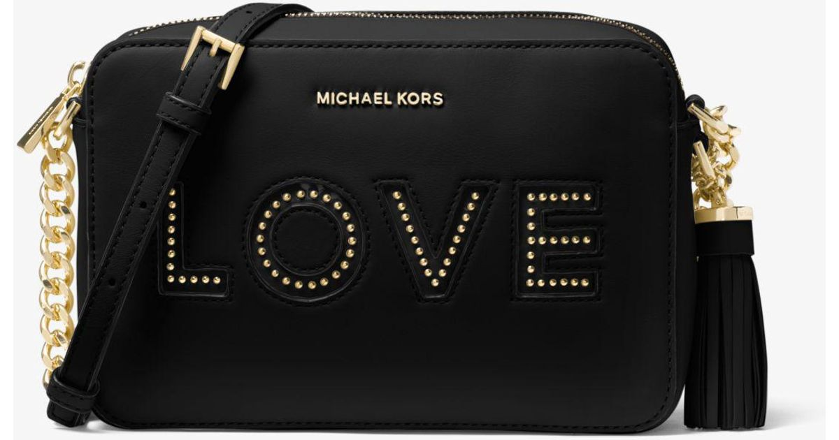 be865fb460d8 Michael Kors Ginny Medium Love Embellished Leather Crossbody Bag in Black -  Lyst