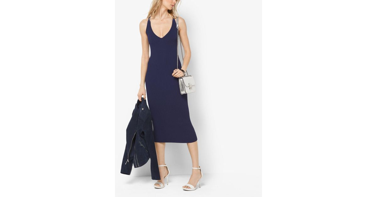 a5a7b2a3147 Michael Kors Ribbed Sweater Dress in Blue - Lyst
