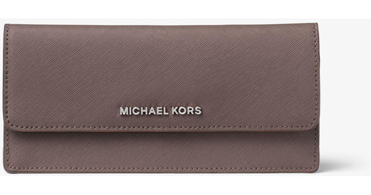 253ff050c2c8 Lyst - Michael Kors Travel Saffiano Leather Wallet in Gray