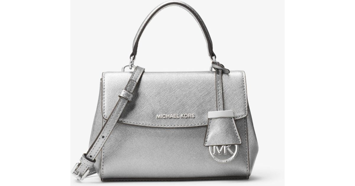 95f92977d450 Michael Kors Ava Extra-small Saffiano Leather Crossbody in Metallic - Lyst