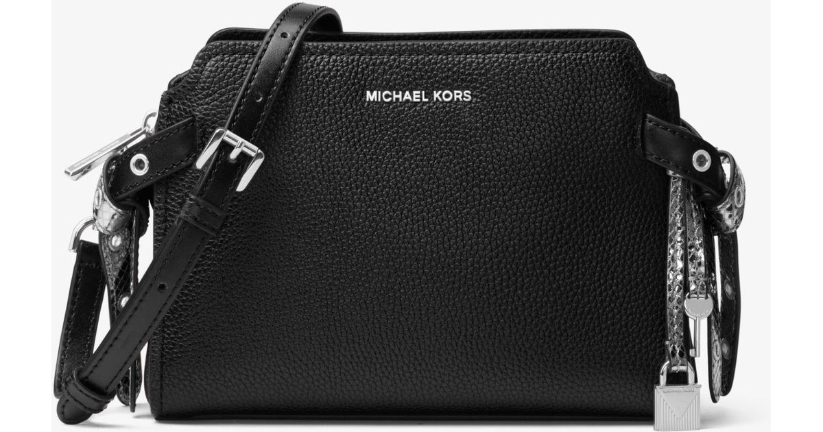 f3ca5daf6e5ac Lyst - Michael Kors Bristol Leather Crossbody in Black