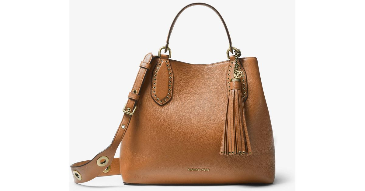 51e5762ce0bb Lyst - Michael Kors Brooklyn Large Pebbled Leather Satchel in Brown