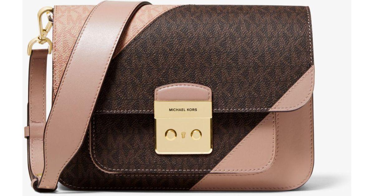 fa2c241249cfdc Michael Kors Michael Sloan Editor Tricolor Signature Shoulder Bag in Brown  - Save 40% - Lyst