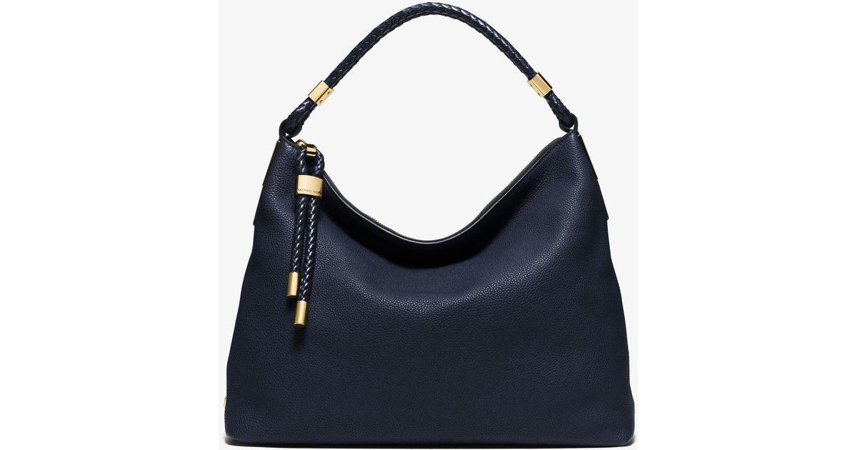 a0415591a789 Lyst - Michael Kors Skorpios Large Pebbled Leather Shoulder Bag in Black