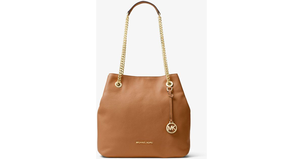 844a67b9f239 Lyst - Michael Kors Jet Set Large Leather Shoulder Bag in Brown
