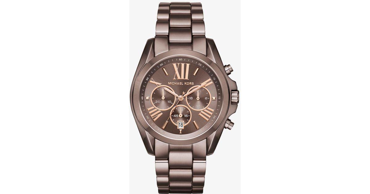 eb7daa2f9c71 Lyst - Michael Kors Oversized Bradshaw Sable-tone Watch in Brown