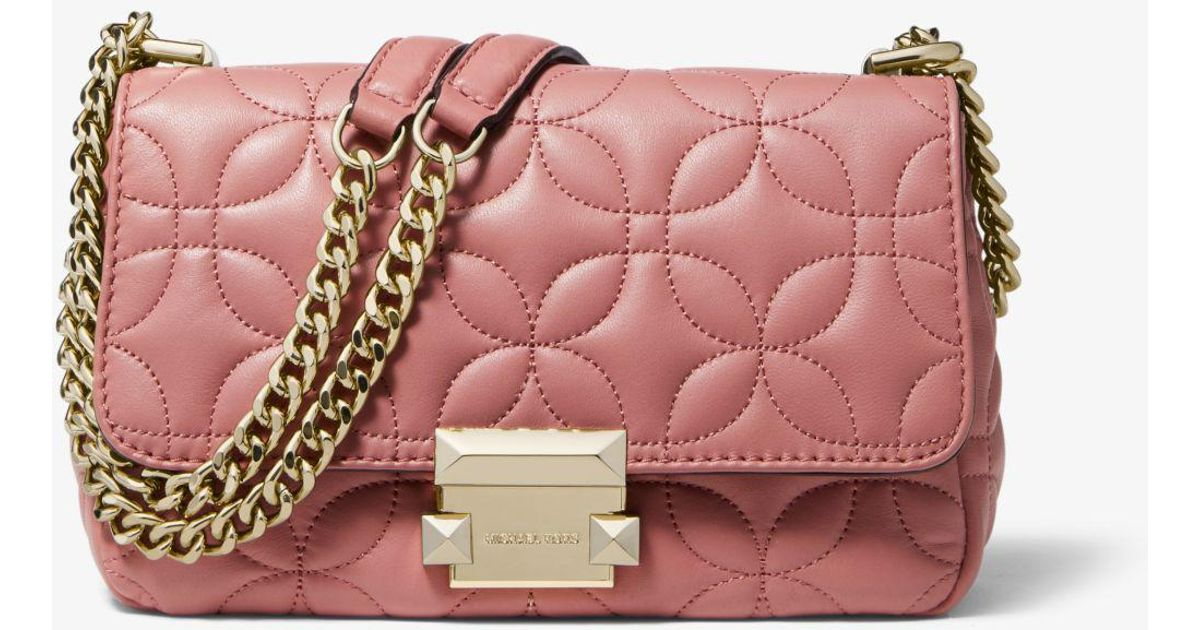 MICHAEL Michael Kors Sloan Small Floral Quilted Leather Shoulder Bag in  Pink - Lyst 7df1d93e36455