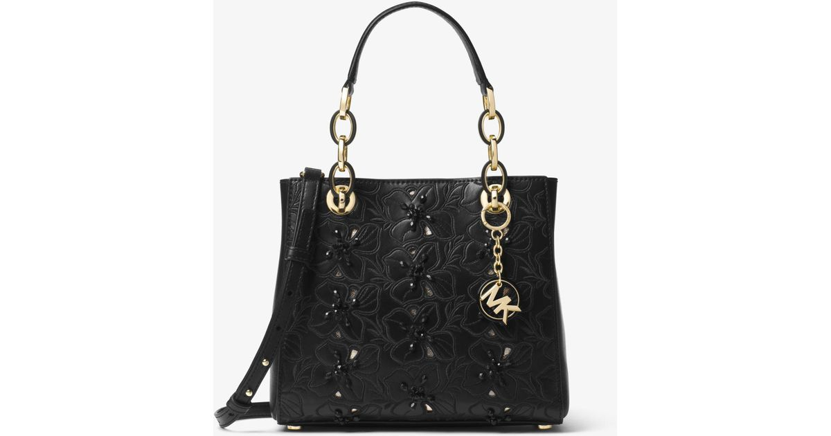 ab28e95022e2 ... chain handbag brown pvcleather tote reduced lyst michael kors cynthia  small floral embroidered leather satchel in black dbaaf 75a1d ...