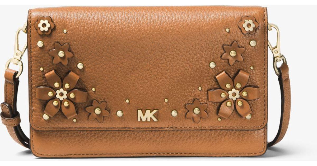 bb1ec9e7918a Michael Kors Floral Embellished Pebbled Leather Convertible Crossbody Bag  in Brown - Lyst