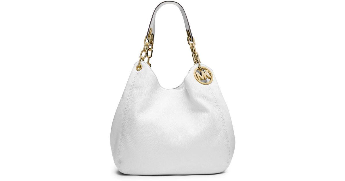 b912430958df16 Lyst Michael Kors Fulton Large Leather Shoulder Bag In White. Michael Kors  Selma Medium Top Zip ...