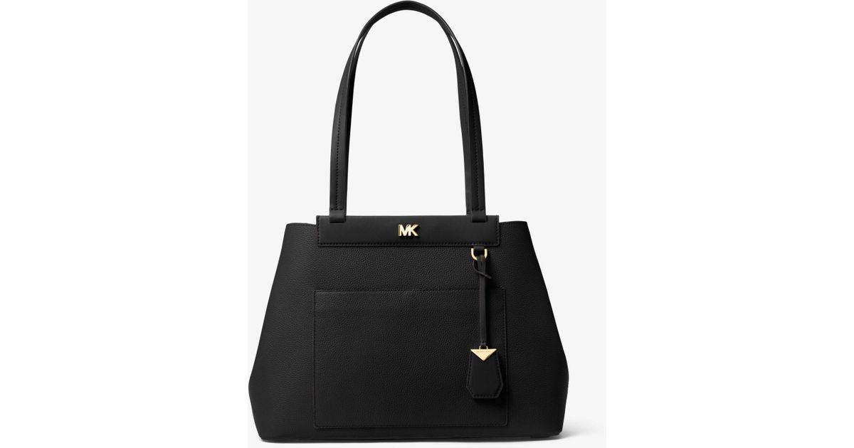 df49bd1f099e Michael Kors Meredith Medium Pebbled Leather Tote in Black - Lyst