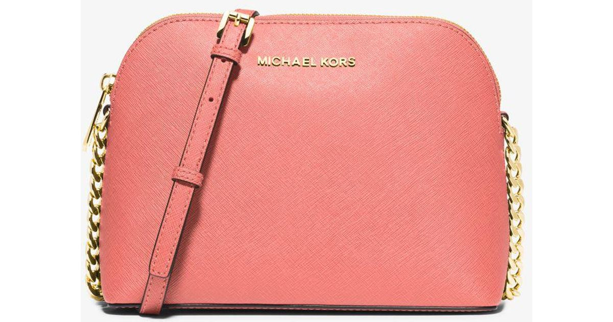 a5e54b0eb37d Lyst - Michael Kors Cindy Large Saffiano Leather Crossbody Bag in Pink