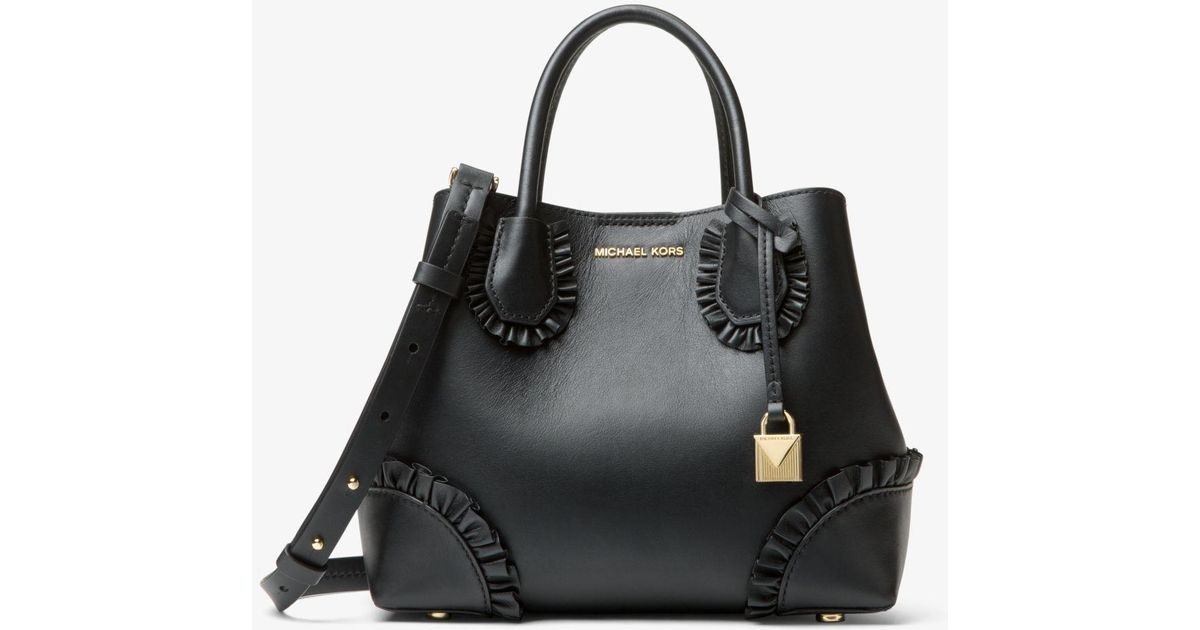 0a3d1bd10b2f Lyst - Michael Kors Mercer Gallery Small Ruffled Leather Satchel in Black