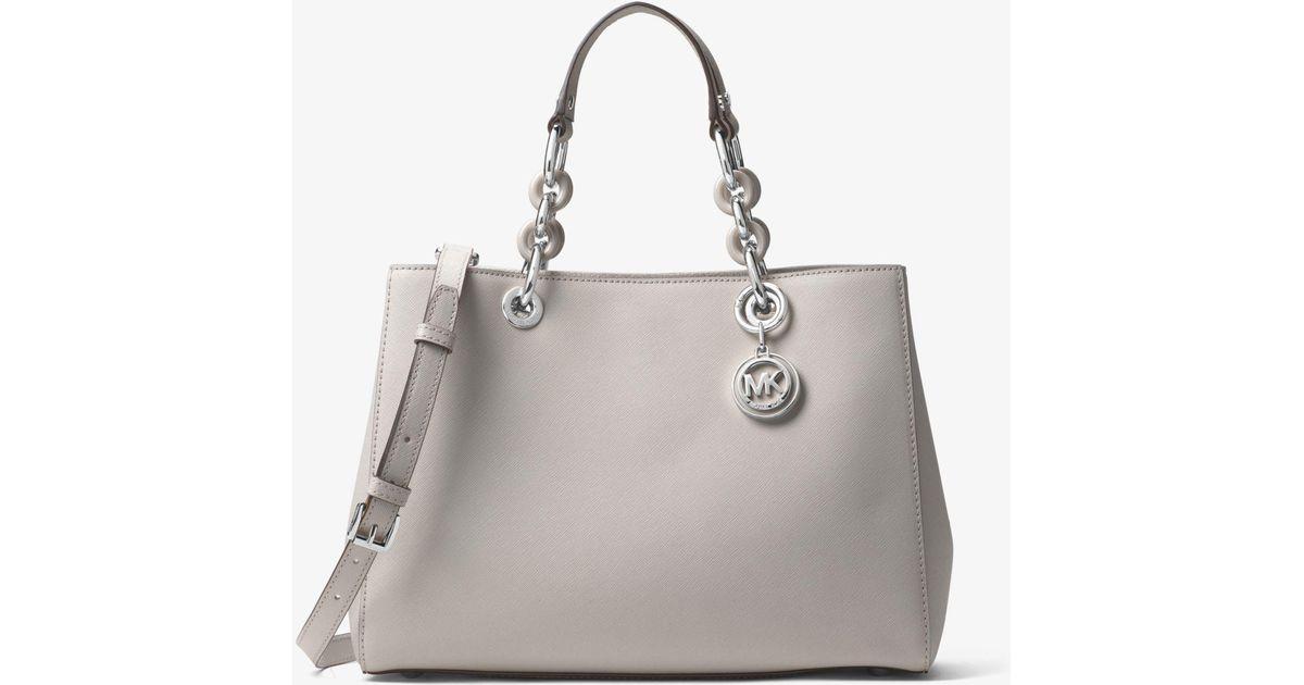 6c714985cbea Lyst - Michael Kors Cynthia Medium Saffiano Leather Satchel in Gray