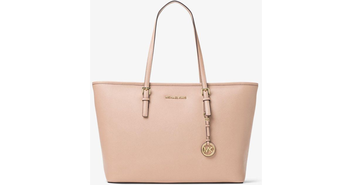 ... authentic lyst michael kors jet set travel large saffiano leather top  zip tote in pink 546ba 59477238069a5