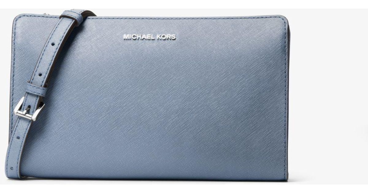 693b41c216e9 Michael Kors Jet Set Large Saffiano Leather Convertible Crossbody Bag in  Blue - Lyst